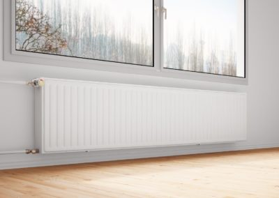 17365625 - central heating attachted to wall with closed windows